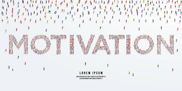 stockillustraties, clipart, cartoons en iconen met motivatie. grote groep mensen vormen zich om motivatie te creëren. vectorillustratie. - dubbelopname businessman