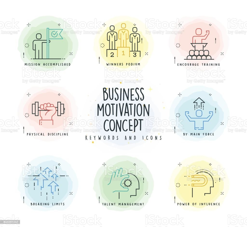 Motivation Line Icon Set with Watercolor Patch vector art illustration