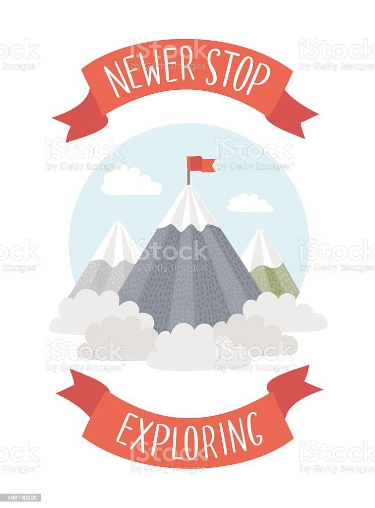 Motivation Poster Ountings Peaks vector art illustration