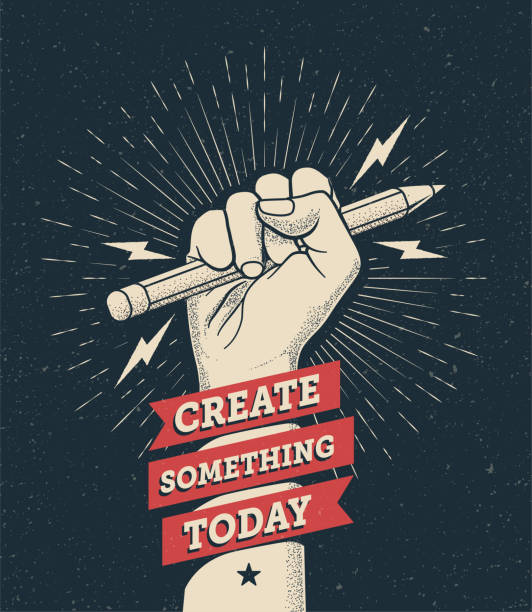 "Motivation poster with hand fist holding a pencil with ""Create Something Today"" caption. Inspire poster template. Vector illustration. Motivation poster with hand fist holding a pencil with ""Create Something Today"" caption. Inspire poster template. Vector eps 10 illustration. stimulus stock illustrations"