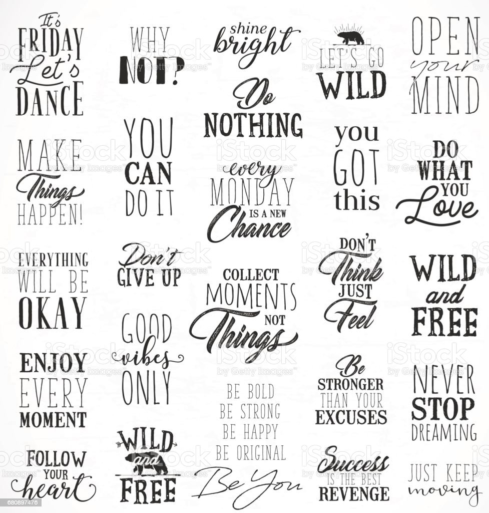 Motivational And Inspirational Quotes In Vintage Style Stock