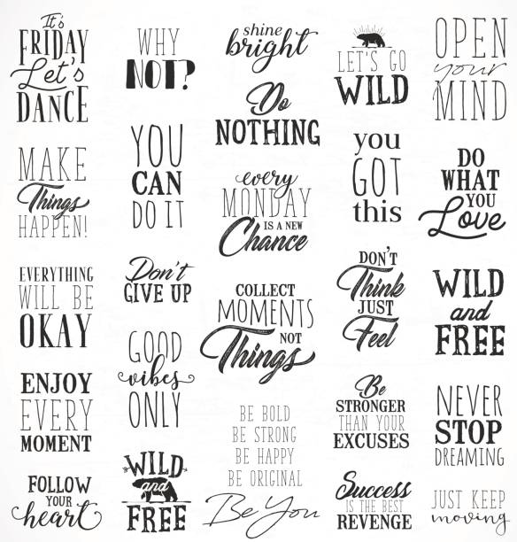 Motivational and Inspirational Quotes in Vintage Style Typographic Minimal Text for Lettering Posters or Postcards. Motivational and Inspirational Quotes in Vintage Style. short phrase stock illustrations