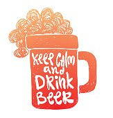 """Motivational card """"Keep calm and drink beer"""""""