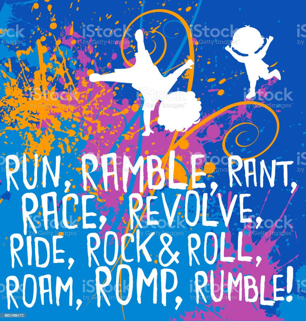 Motivational Fitness Poster With Cartoon Kids And Playful Action Words Colorful Spattered Background Royalty