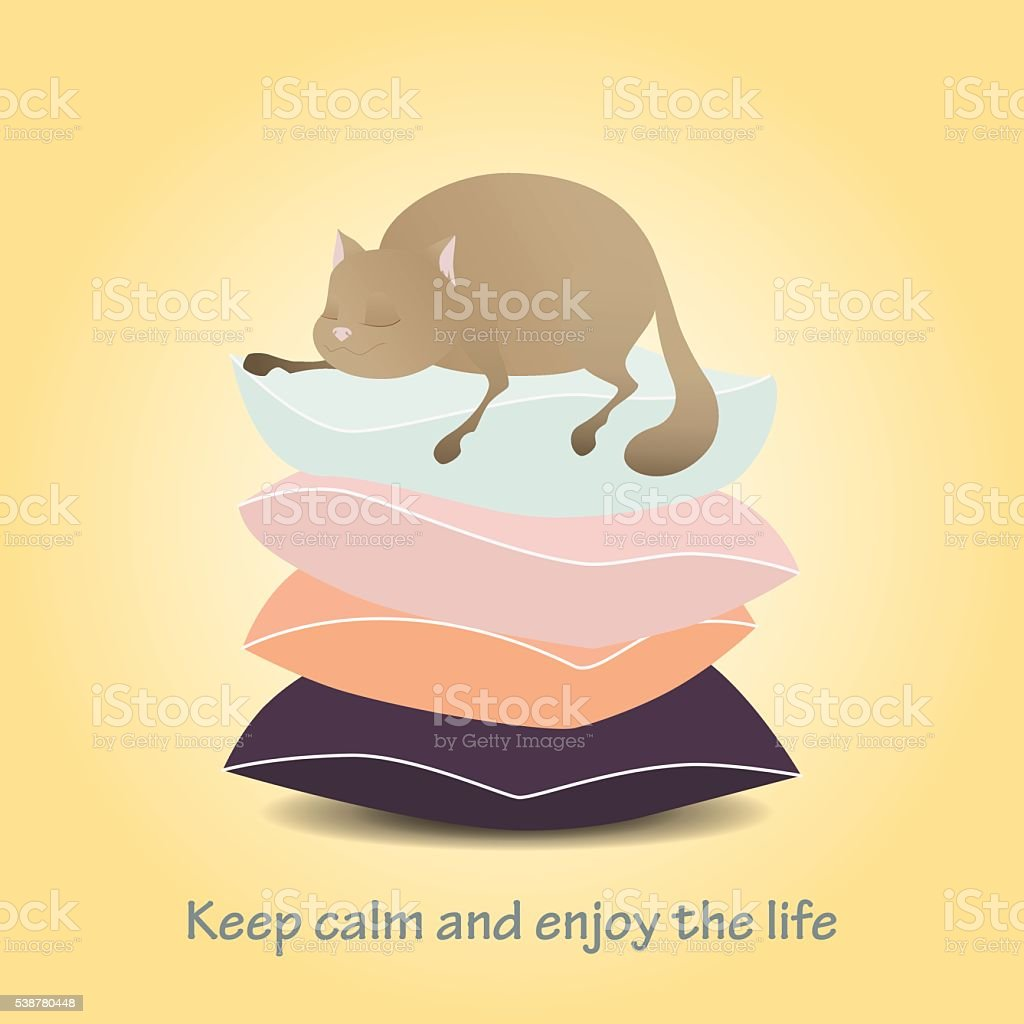 Motivational. Keep calm and enjoy life. Cute cat. vector art illustration