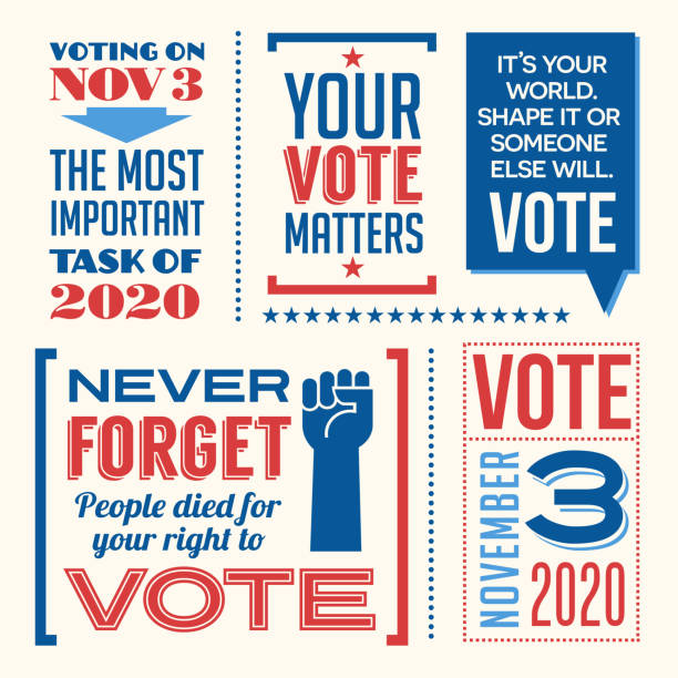 Motivational messages and design elements to promote voter participation in future United States elections. vector art illustration