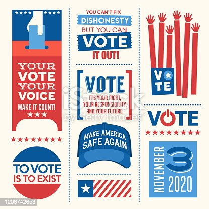 Motivational messages and design elements to promote voter participation in future United States elections. Easy to edit. Vector illustration. For web banners, cards, posters, stickers