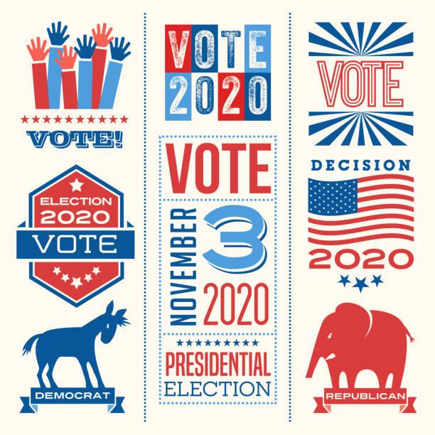ilustraciones, imágenes clip art, dibujos animados e iconos de stock de mensajes motivacionales y elementos de diseño para promover la participación de los votantes en futuras elecciones de estados unidos. - polling place
