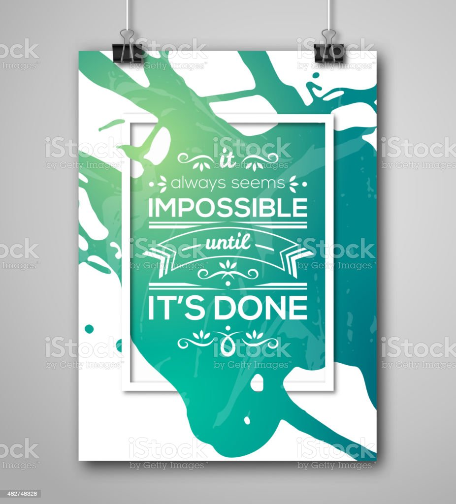 Motivational Poster Square Frame with Paint Splash. vector art illustration