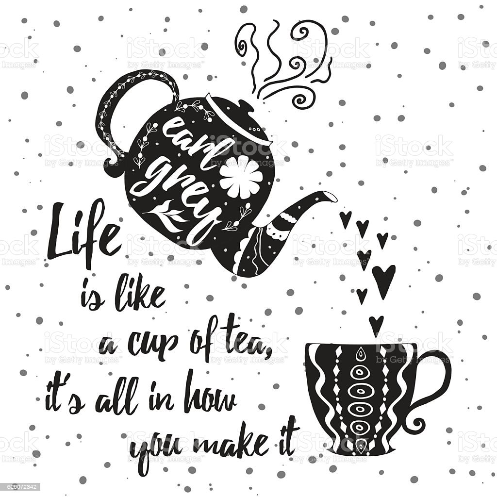photo about Teapot Printable known as Motivational Printable Card With Tea Cup Teapot And Optimistic