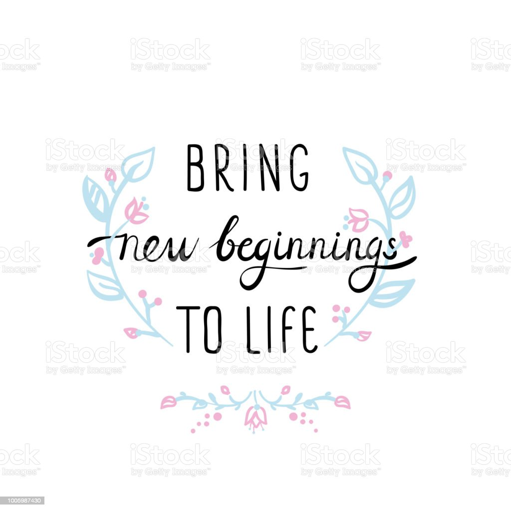 Motivational Quote New Beginnings Stock Illustration ...