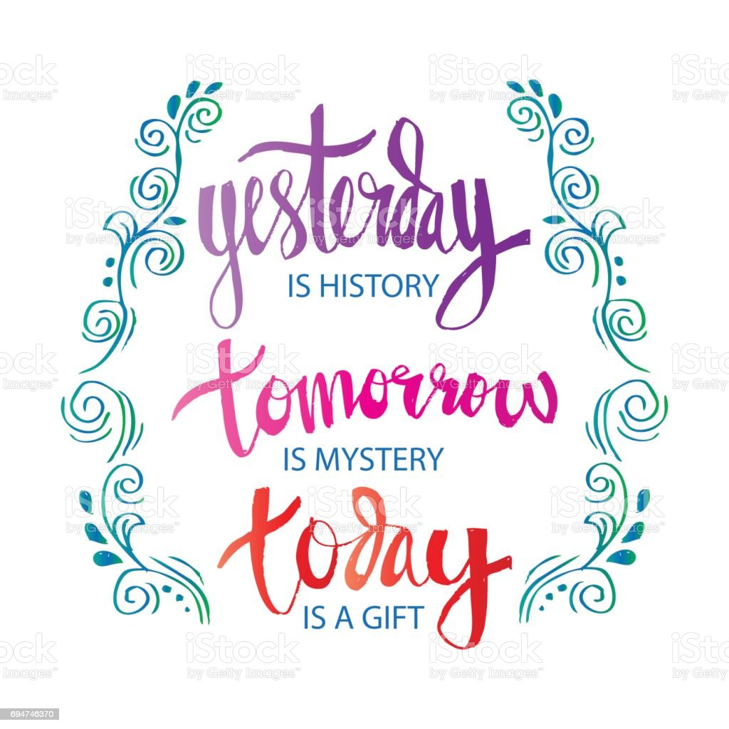 Motivational quote poster yesterday is history tomorrow is a mystery today is a gift royalty