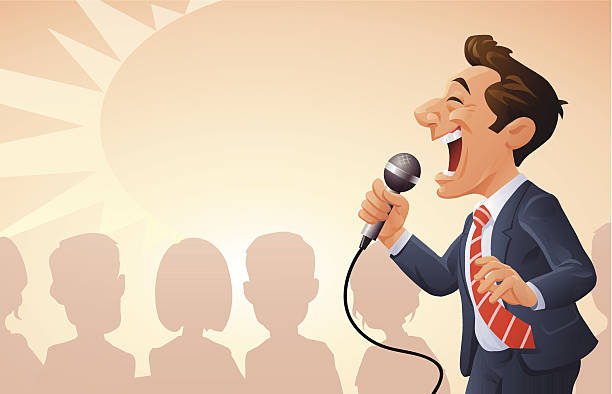 motivational seminar - comedian stock illustrations