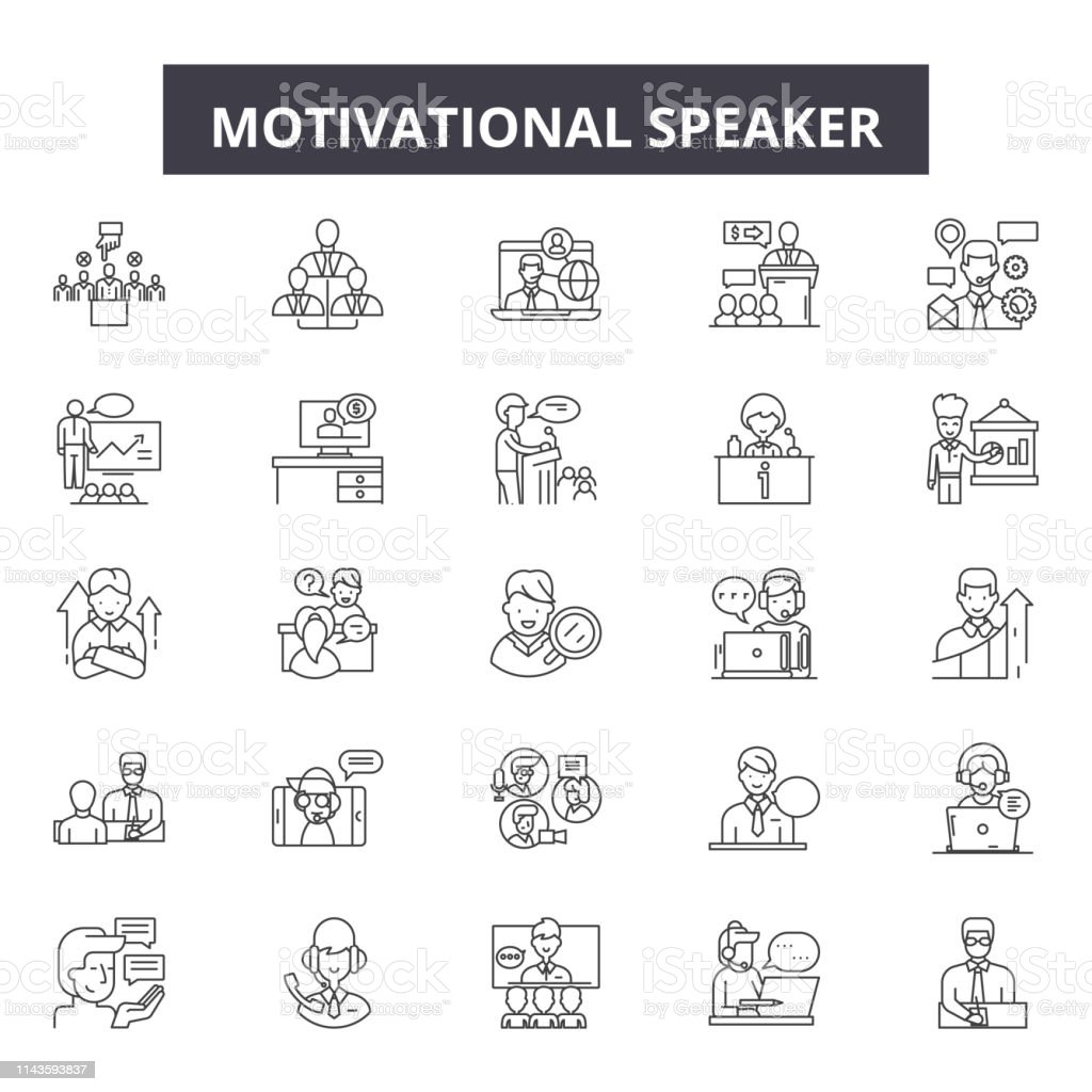 Ilustración De Iconos De Línea De Orador Motivacional