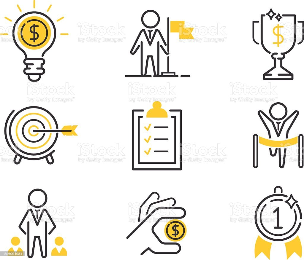 Motivations icons vector set. royalty-free motivations icons vector set stock vector art & more images of achievement