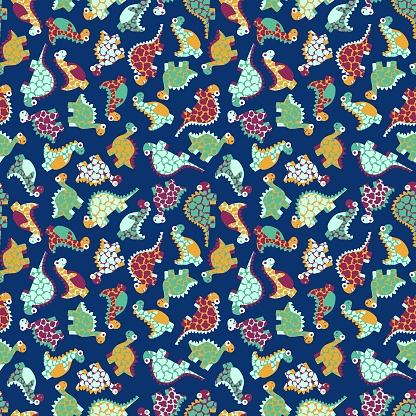 Motley cartoon dinosaurs seamless pattern vector