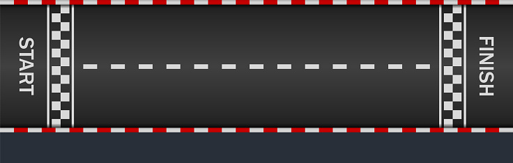 Moto race. Lane, gp, track with start, finish line and borders. Racetrack with kart. Black asphalt road for car on f1. Fast countdown on way. Auto background and wallpapers. Tarmac view. Vector