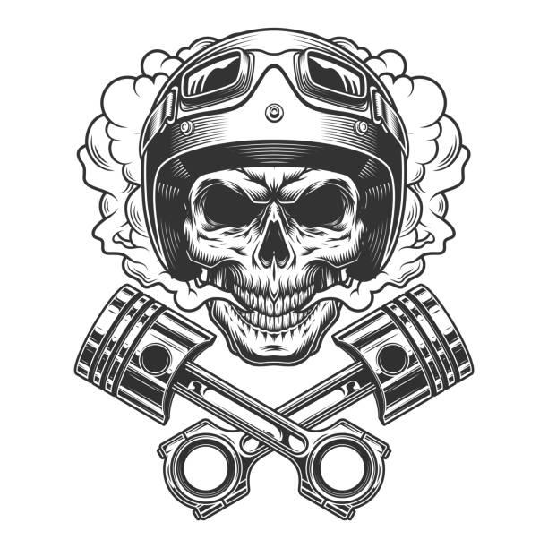 ilustrações de stock, clip art, desenhos animados e ícones de moto racer skull in smoke cloud - helmet motorbike