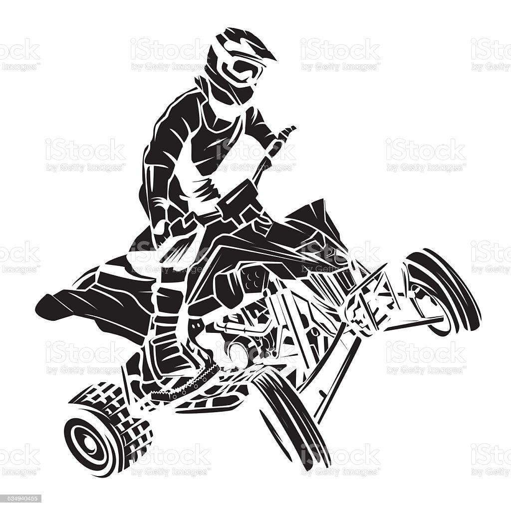atv moto rider tattoo stock vector art 534940455 istock. Black Bedroom Furniture Sets. Home Design Ideas