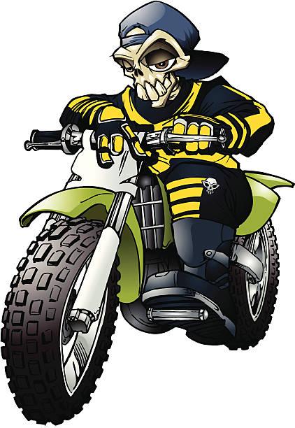 Moto X seleton rider vector art illustration