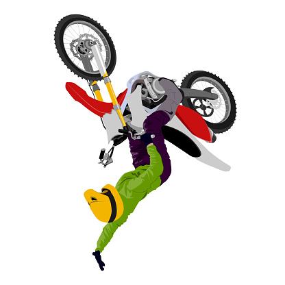 Motocross backflip jump graffiti style isolated vector illustration