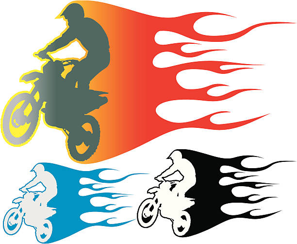 Motocross biker in flames. vector art illustration