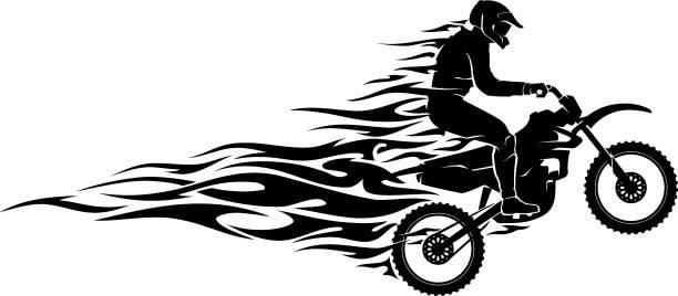 Motocross Flame Silhouette vector art illustration