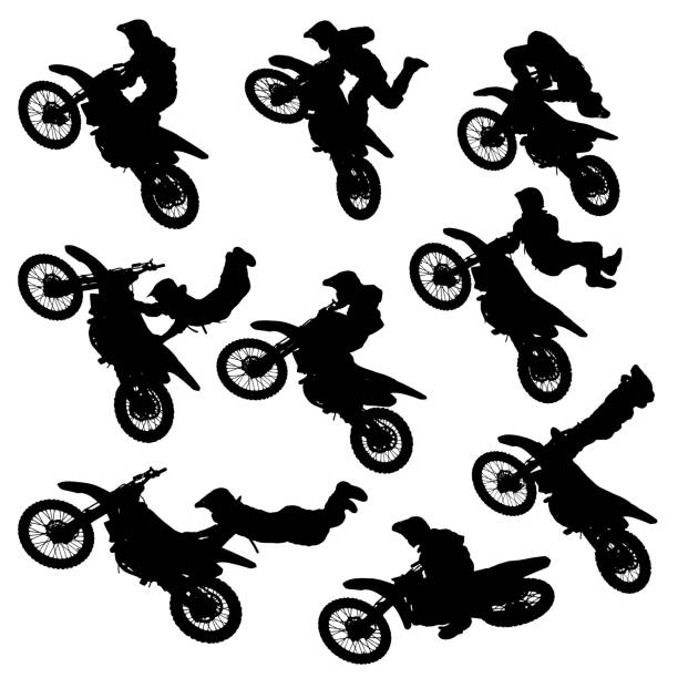 motocross freestyle silhouette vector illustration silhouettes of motorcycle jumping - set of motocross freestyle jump isolated stunt stock illustrations