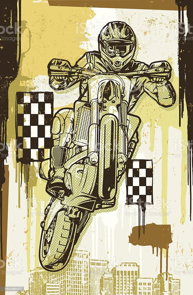 Motocross Motorcycle Racer: Halftone Paint Splatter Version vector art illustration
