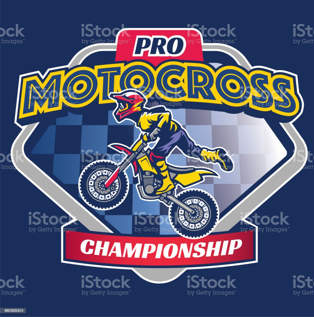 motocross race badge vector art illustration