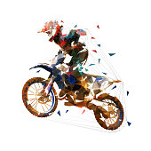 Motocross race, rider on motorbike, isolated low poly vector illustration