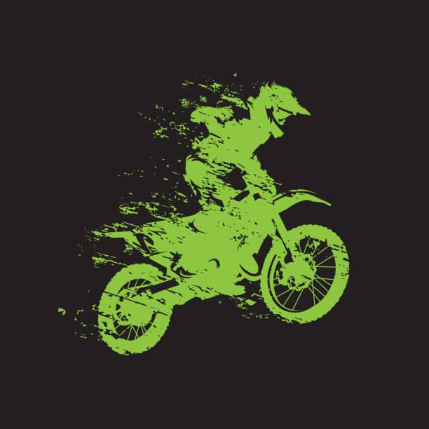 illustrations, cliparts, dessins animés et icônes de course de motocross, cavalier sur la moto, illustration de vecteur d'isolement - moto sport