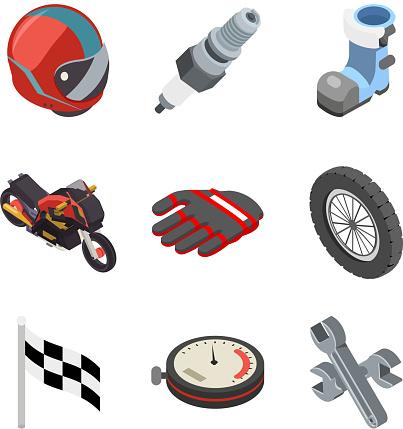 Motocross race sport championship isometric motorbike vehicle icons set flat bike design vector illustration