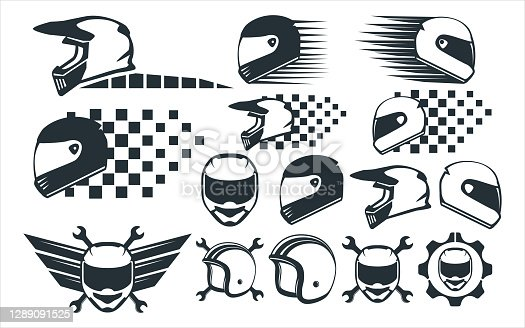 motocross racing helmet vector graphic design template set for sticker, decoration, cutting and print file