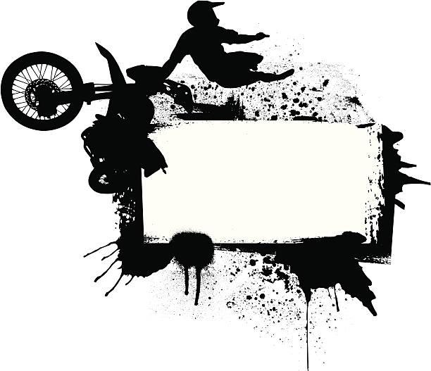 Motocross Rider in Mid-Air vector art illustration