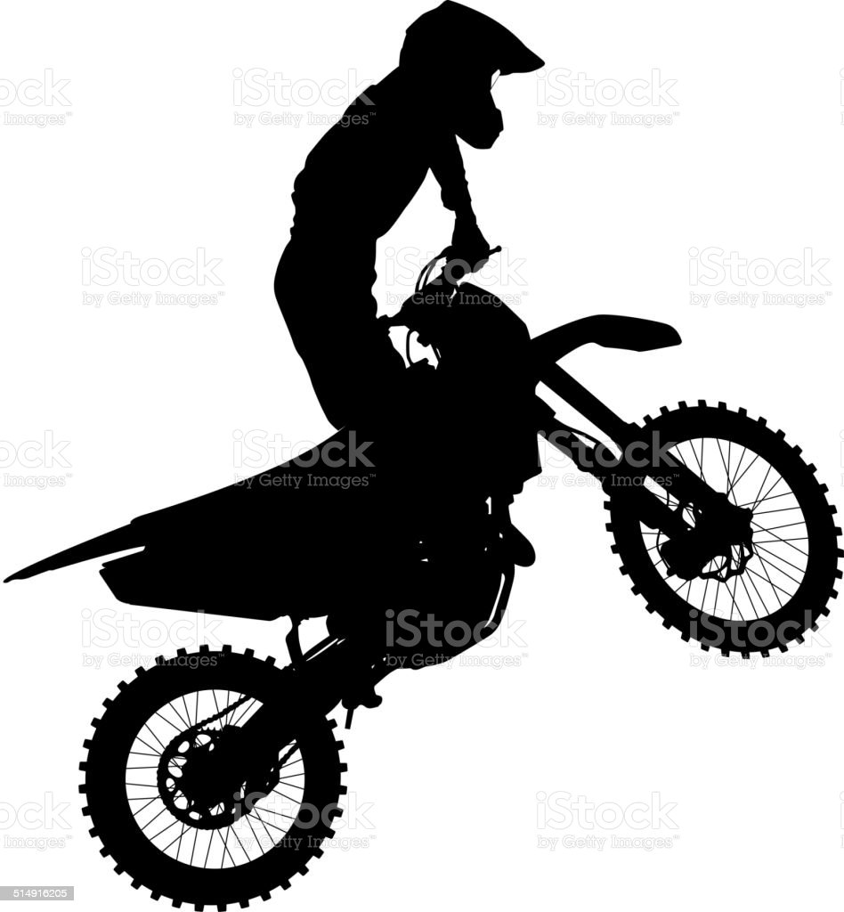 Motocross rider on a motorcycle vector art illustration