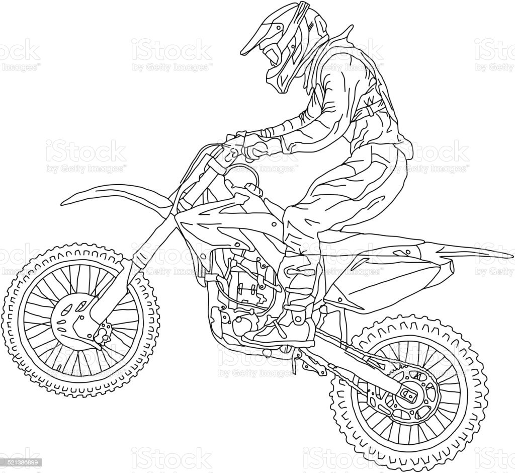 Motocross rider on a motorcycle. vector art illustration