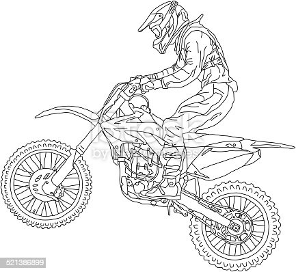 Motocross Rider On A Motorcycle Stock Vector Art Amp More