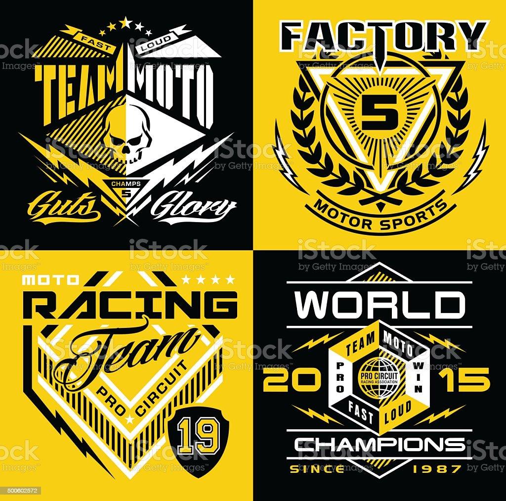 Motocross sport shield emblem set vector art illustration