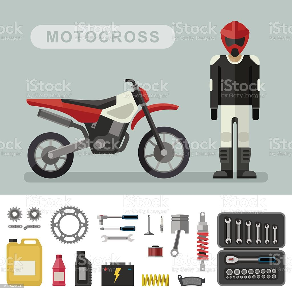 Motoctoss bike with parts. vector art illustration