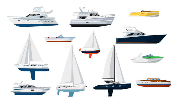 Motor boat and sailboat set vector art illustration