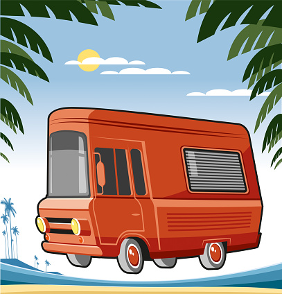 Motor caravan and beach