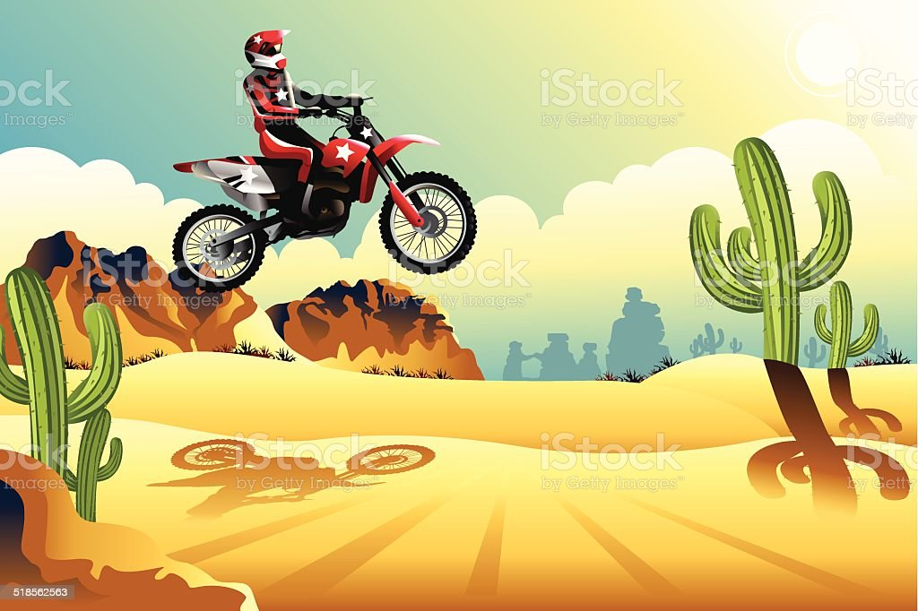 Motor cross rider in the desert vector art illustration