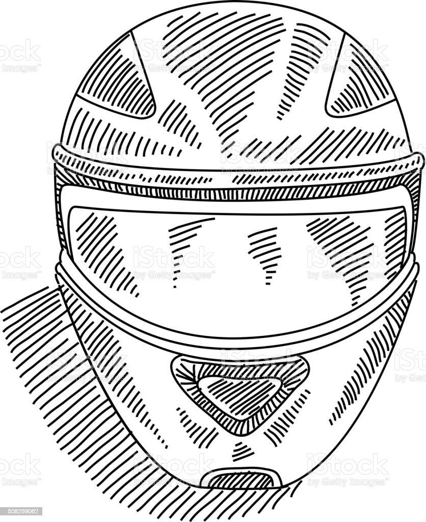 Motor Fahrrad Helm Zeichnung Stock Vektor Art Und Mehr Bilder Von