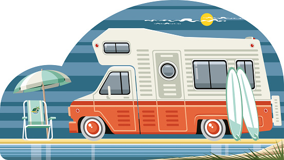 Motor home and beach