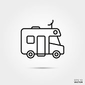 Motor home vector line icon. Summer holidays and travel symbol.