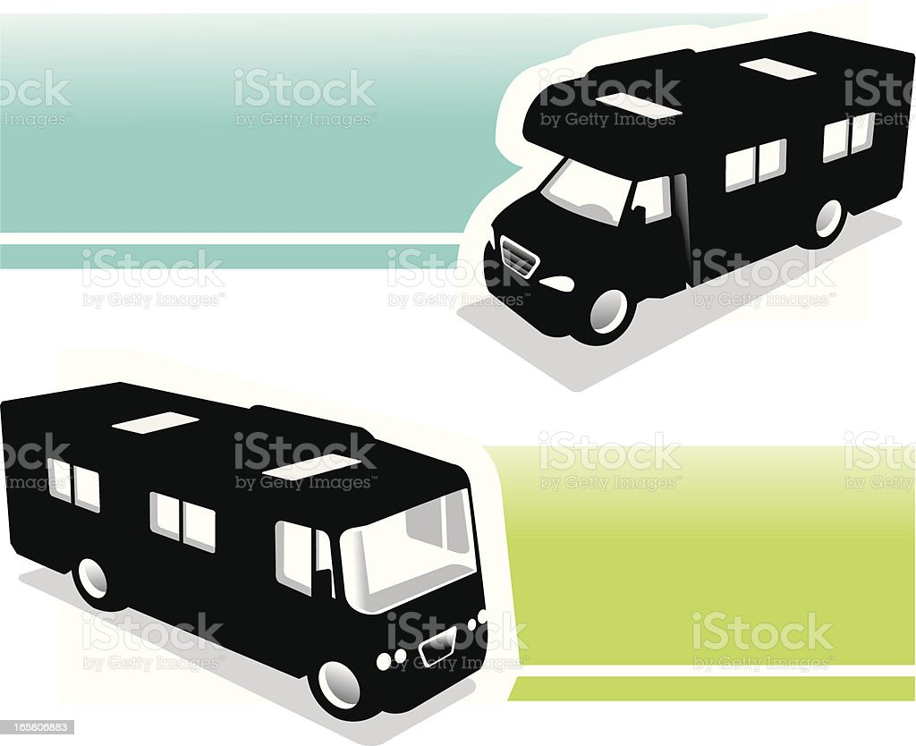 motor homes with banner royalty-free stock vector art