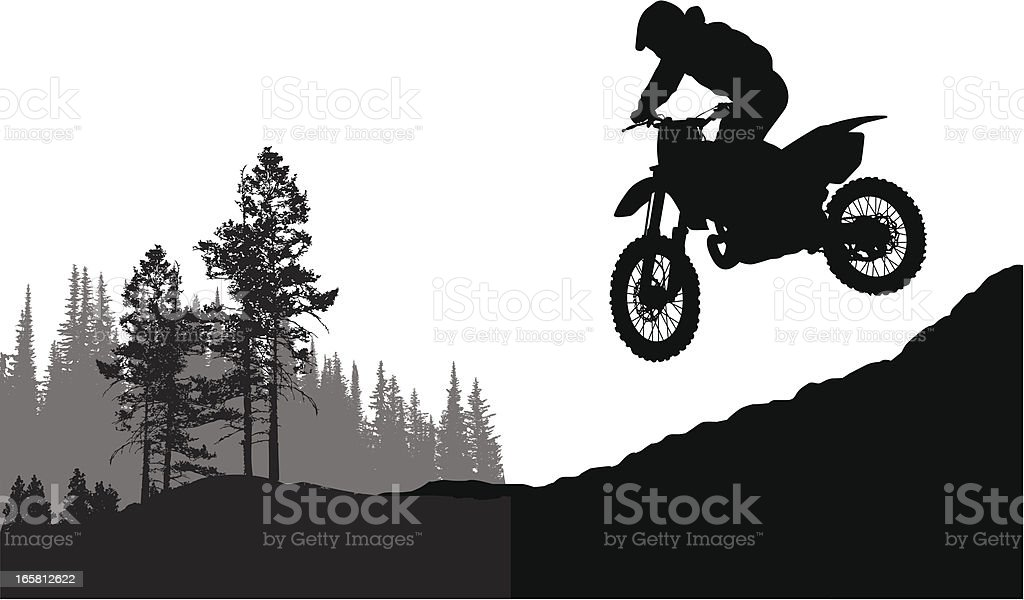 Motor Jumping Vector Silhouette vector art illustration