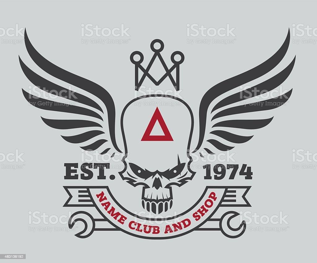 motor logo design., autocollant, logo étiquette, des bras - Illustration vectorielle