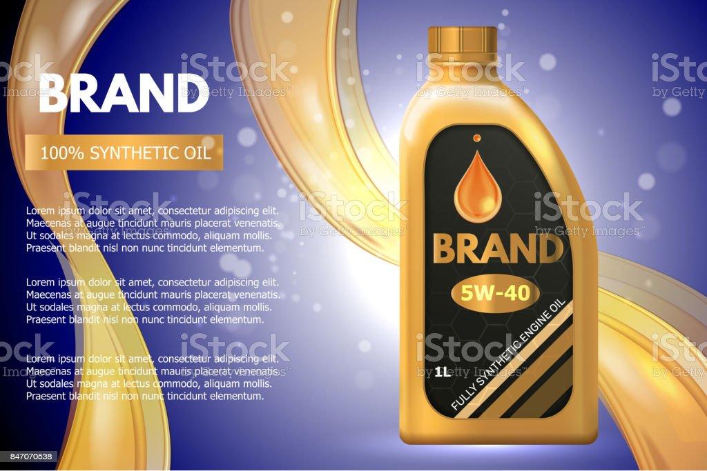 Anuncio de envase de producto de aceite de motor. Vector ilustración 3d. Diseño de plantilla de botella de aceite de coche motor - ilustración de arte vectorial